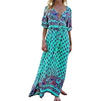 StyleDome Women Dresses Summer V Neck Floral Print Party Long Boho Maxi Dresses Loose Sundress Plus Size