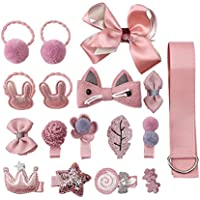 Baby Girl's Hair Accessories Set- 18 Pcs Hair Clips, Hair Ties, Baby Bows with Hanger, Toddlers Kids Baby Girls(Korea Pink)