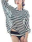 (サコイユ)sakoiyu水着レディースビキニセクシー体型カバーワイヤー入りボーダー3点セット黒白海フィットネスタンキニセパレーツブラックシフォンショートパンツおしゃれお洒落可愛いきれいめ大人ゴム(L)
