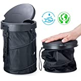 Universal Traveling Portable Car Trash Bin - Collapsible Trash Can With Cover For TRUCK VAN RV SUV Boats And Baby Stroll (BLACK)