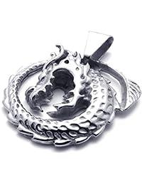[テメゴ ジュエリー]TEMEGO Jewelry メンズステンレススチールヴィンテージペンダントゴシックドラゴンネックレス、シルバー[インポート]