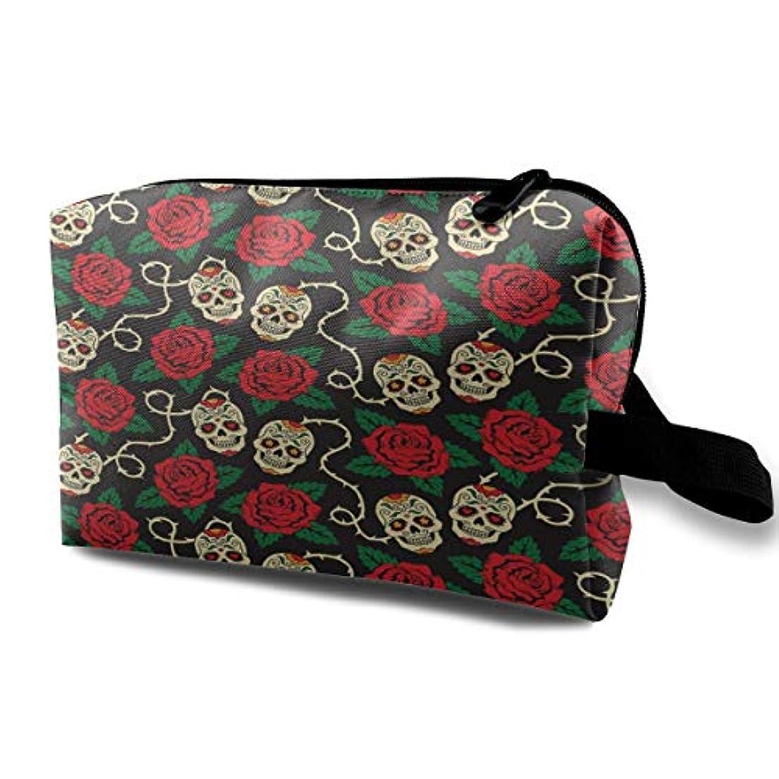 粒子磁器まばたきAmazing Rose Skull 収納ポーチ 化粧ポーチ 大容量 軽量 耐久性 ハンドル付持ち運び便利。入れ 自宅?出張?旅行?アウトドア撮影などに対応。メンズ レディース トラベルグッズ