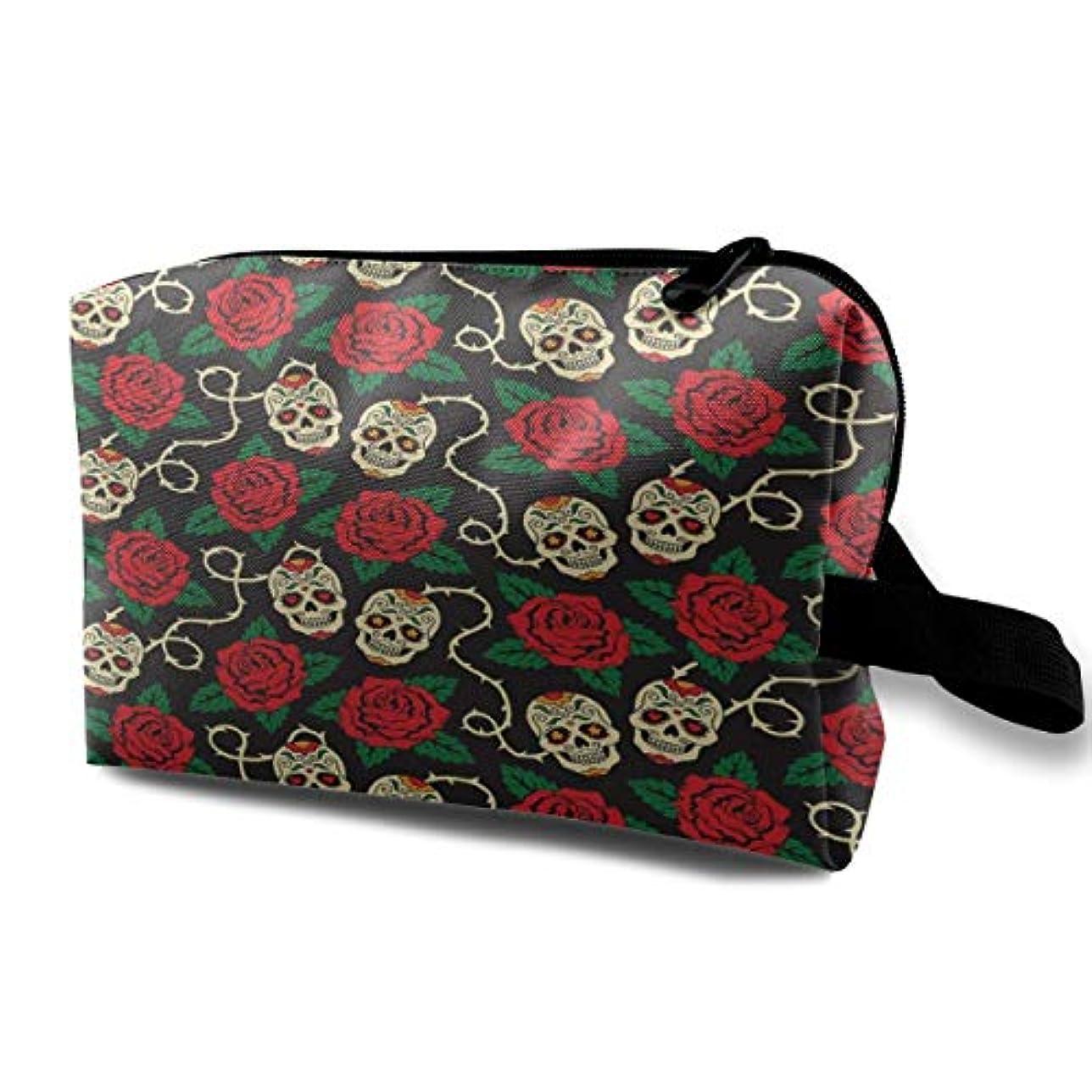 神学校民主党本当にAmazing Rose Skull 収納ポーチ 化粧ポーチ 大容量 軽量 耐久性 ハンドル付持ち運び便利。入れ 自宅?出張?旅行?アウトドア撮影などに対応。メンズ レディース トラベルグッズ