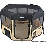 """EliteField 2-Door Soft Pet Playpen, Exercise Pen, Multiple Sizes and Colors Available for Dogs, Cats and Other Pets (30"""" x 30"""" x 20""""H, Black+Beige)"""