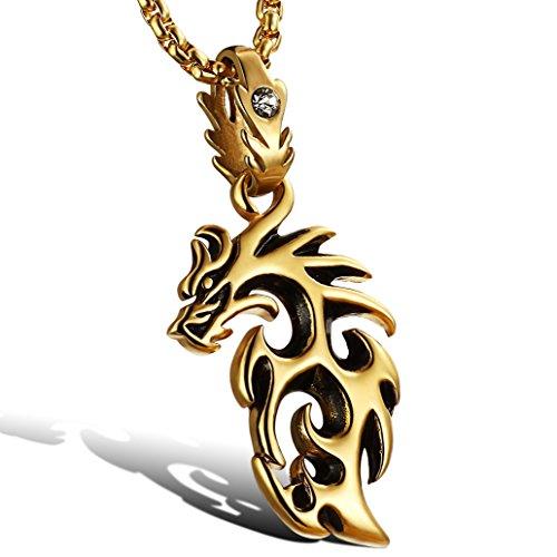 [해외]MFYS Jewelry 패션 남성 파이어 드래곤 드래곤 펜던트 스테인리스 목걸이 색상 : 골드 (금) (체인 포함 펜던트) 목걸이 [선물 상자를 제공]/MFYS Jewelry fashion men`s fire dragon dragon pendant stainless steel necklace color: gold (pendant ...