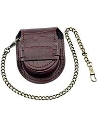 【ノーブランド 品】懐中時計バッグ ポケット アンティーク ブロンズ チェーン ウォッチバッグ ケース ポーチ 財布 ホルダー 赤紫