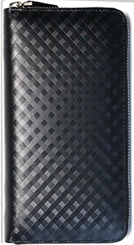 黒×黒 本革 カーボンレザー 長財布 メンズ ラウンドファスナー 長サイフ ラウンドジップ 革 サイフ 0010007-F-004