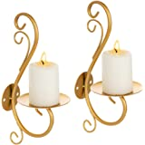 Sziqiqi Wall Candle Sconces Iron Vine Candleholder Wall Art Decoration Home Decoration Tealight Candle Stand Gold