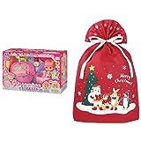 メルちゃん お人形セット フルーツいっぱい!いちごのおふろセット + インディゴ クリスマス ラッピング袋 グリーティングバッグ4L ワンダーランド レッド XG158