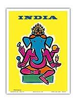 インド - ヒンドゥー教の神ガネーシャ - ビンテージな航空会社のポスター によって作成された ジャン・カルリュ c.1959 - アートポスター - 23cm x 31cm