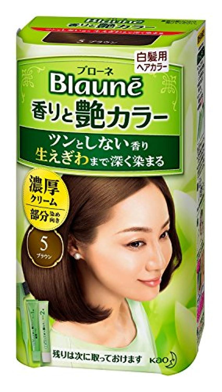 芝生破壊する洗練された【花王】ブローネ 香りと艶カラー クリーム 5:ブラウン 80g ×10個セット