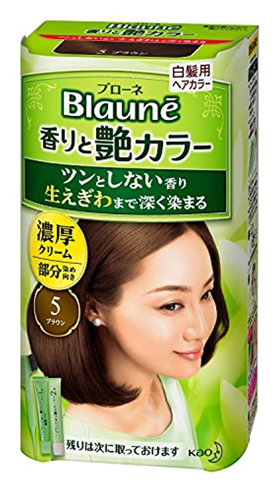 事実なぞらえる何故なの【花王】ブローネ 香りと艶カラー クリーム 5:ブラウン 80g ×5個セット