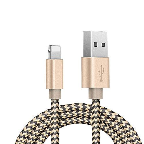 (Zeuste)高耐久ナイロン1.5M apple ケーブルiphone6/iphone6 plus/iphone5/iphone5s/iphone5c/ipad/ipod対応のlightning usbケーブル(2色編み ブラック&ゴルード)
