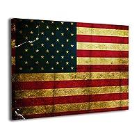 ホームデコレーション 装飾画 アメリカ国旗 現代絵画 キャンバス絵画 廊下 木枠付きの完成品 絵画 軽くて取り付けやすい (40x30 Cm)