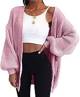 秋冬バットウィングスリーブニットカーディガン女性大型ニットセーターカーディガン女性ファッションジャンパーコート,AsiansizeS,ピンク