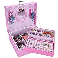 ジュエリーボックス、ミラー付き女性用フェイクレザースモールトラベルジュエリーオーガナイザー、リング用ミラー付き2層、イヤリング、ネックレス、ブレスレットオーガナイザージュエリー収納ボックス,B