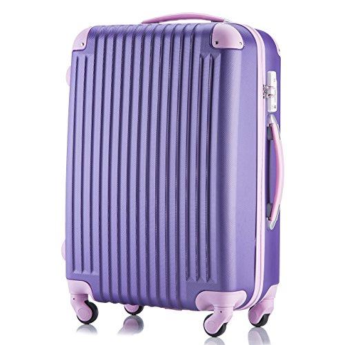 (トラベルデパート) 超軽量スーツケース TSAロック付 ダイヤルロック【一年修理保証】カバー付 (Mサイズ(3-7泊用/54L), パープル)