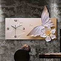 装飾用壁掛け時計 ミニマルアートワーク大きな壁の時計簡単に読むスタイリッシュ樹脂ハング時計以外刻々と過ぎサイレントクロックのホーム リビングルームの寝室用 (色 : Gold 60x40cm)