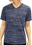 OVAL DICE(オーバルダイス) Tシャツ ネックレス セット 半袖 ゆる Vネック 無地 メンズ ネイビー L