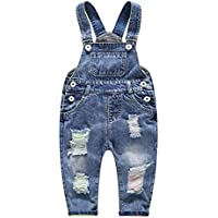 Kidscool Baby & Little Boys/Girls Ripped Holes Bib Jeans Overall