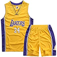 66GSB Children's Basketball Wear - Basketball Vest Summer Shorts - Boys and Girls Basketball Jerseys, NBA Jerseys - Kobe Bryant #24 - Los Angeles Lakers
