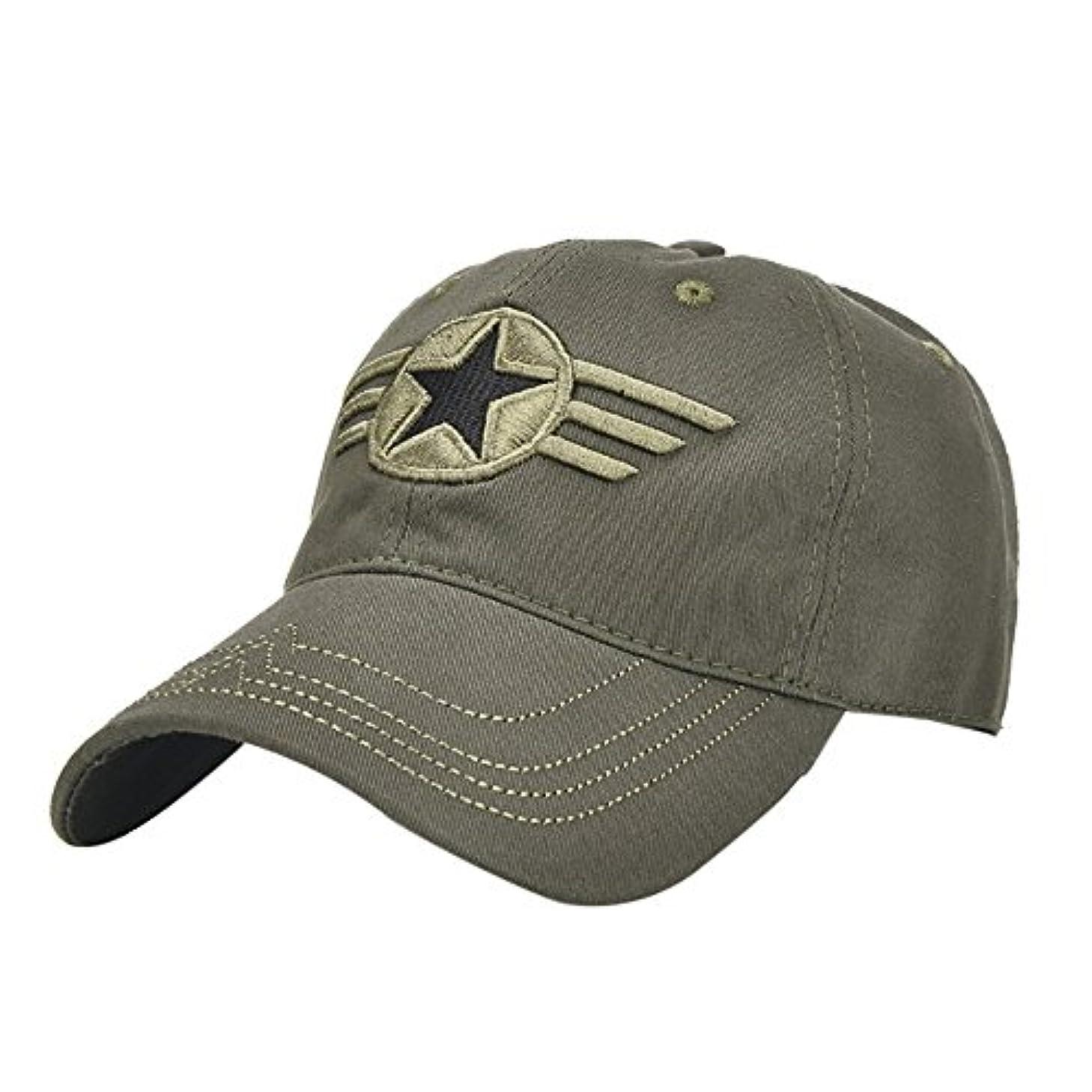 Racazing Cap ミリタリーキャップ 野球帽 迷彩 夏 登山 通気性のある メッシュ 帽子 ベルクロ 可調整可能 スターバッジ 刺繍 棒球帽 UV 帽子 軽量 屋外 Unisex Hat (アーミーグリーン)