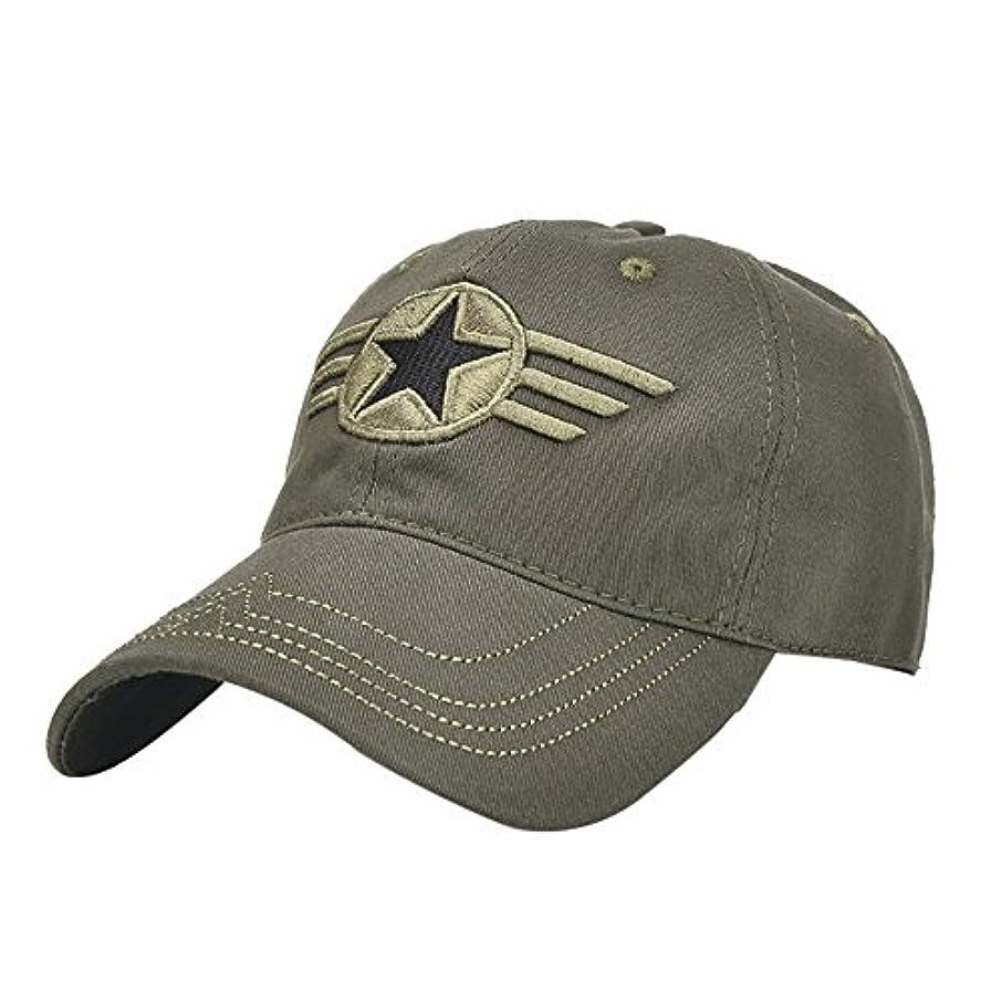 決定電球位置づけるRacazing Cap ミリタリーキャップ 野球帽 迷彩 夏 登山 通気性のある メッシュ 帽子 ベルクロ 可調整可能 スターバッジ 刺繍 棒球帽 UV 帽子 軽量 屋外 Unisex Hat (アーミーグリーン)