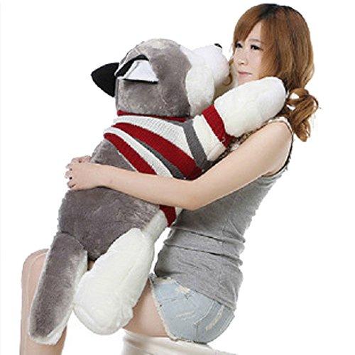 かわいいシベリアンハスキーぬいぐるみ人形50cmストリップ犬ぬいぐるみおもちゃソファスロー枕