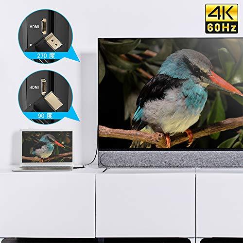 『ELUTENG 4K HDMI アダプタ L型 30Hz [6点セット] 延長コネクタ 90度 + 270度 オス メス HDMI 中継 アダプタ HDMI2.0 変換 エクステンダー 下向き L 延長器 コネクター 金メッキ ミニプラグ』の3枚目の画像