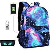 Anime Luminous Backpack USB Daypack, Centtechi Unisex Shoulders Laptop Notebook Bag with USB Charging Port&Lock Anti-theft Travel Fashion School Bag for Boys and Girls