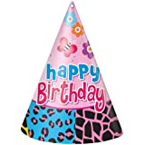 (Party Hats) - Wild Birthday Party Hats, 8ct