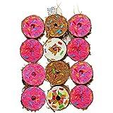 ミニドーナツピニャータ パーティー用品 アソートカラー ピンク ブラウン ホワイト ドーナツテーマの誕生日パーティー用 12個パック