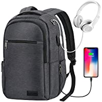 Anti Theft Laptop Backpack with USB Charging, Water Resistant Durable College School Daypack for Teens Boys Girls Men Women, Fits 15.6-Inch Macbook Laptop, Dark Gray