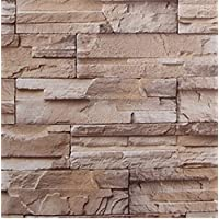 壁紙シール レンガ ブロック 模様 61cm × 10m ブリックパターン ストーン 3D 立体 DIY 模様替え (浅黄)