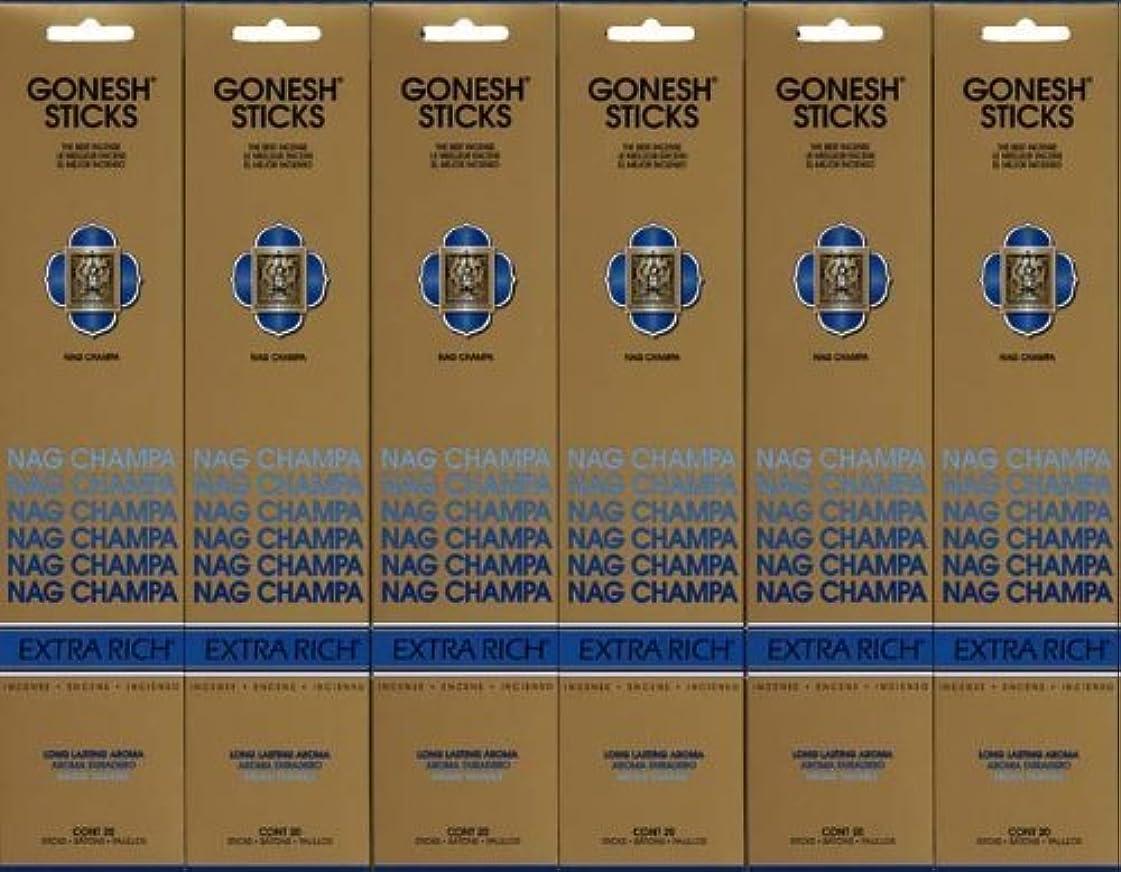 比喩手順バンジージャンプGONESH NAG CHAMPA ナグチャンパ スティック 20本入り X 6パック (120本)