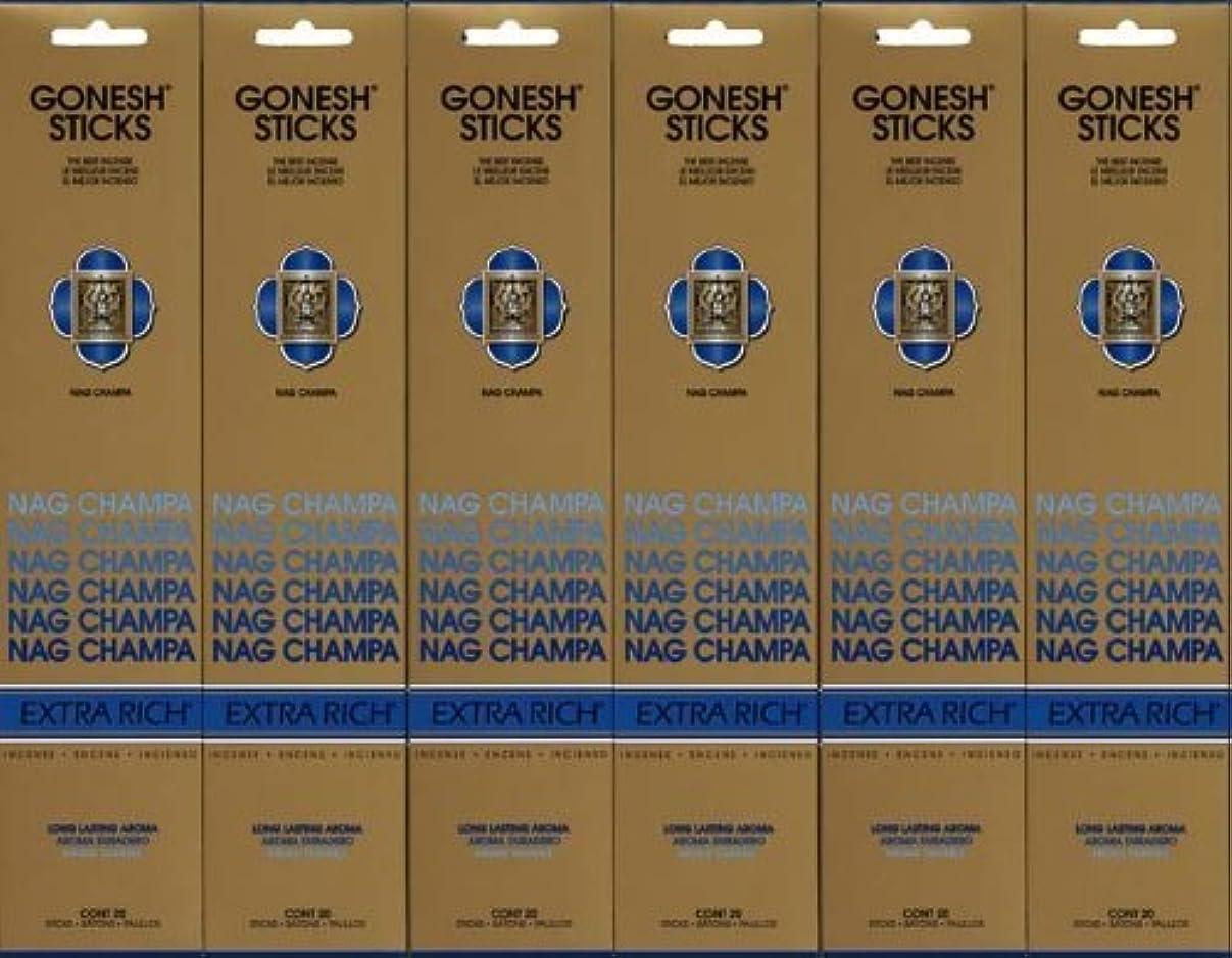 青写真またね賞賛するGONESH NAG CHAMPA ナグチャンパ スティック 20本入り X 6パック (120本)
