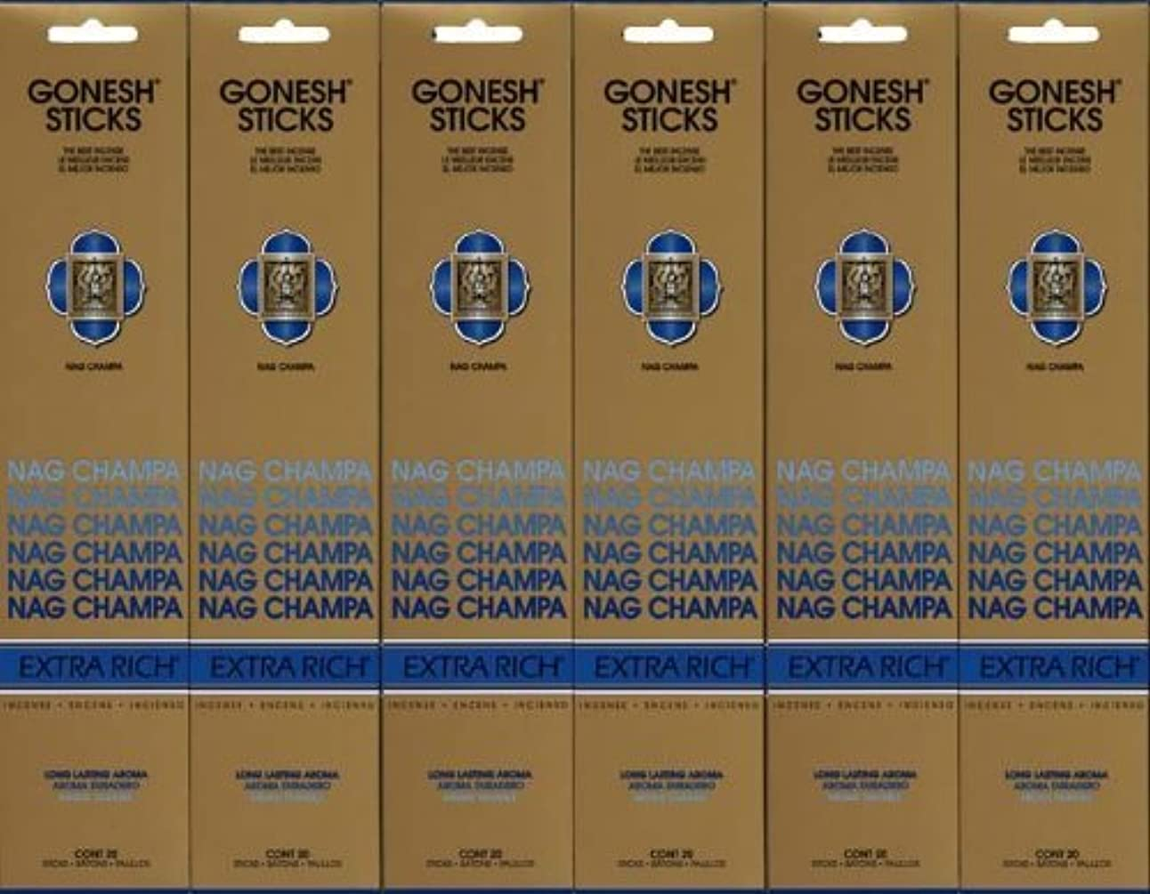 アダルト光のインカ帝国GONESH NAG CHAMPA ナグチャンパ スティック 20本入り X 6パック (120本)