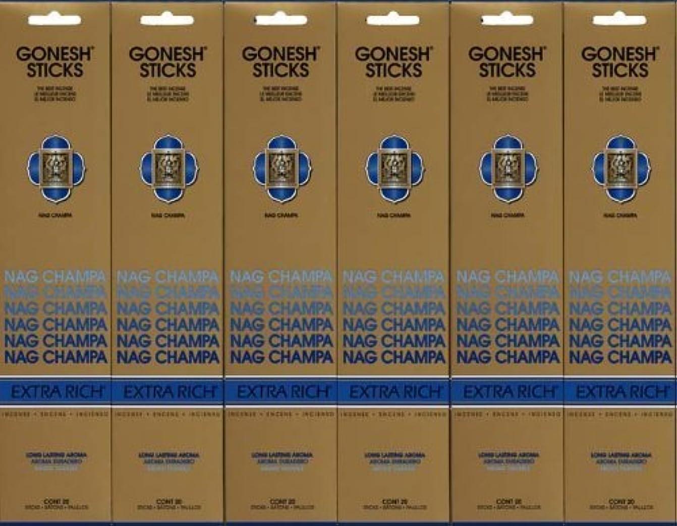 拷問カテナデンマーク語GONESH NAG CHAMPA ナグチャンパ スティック 20本入り X 6パック (120本)