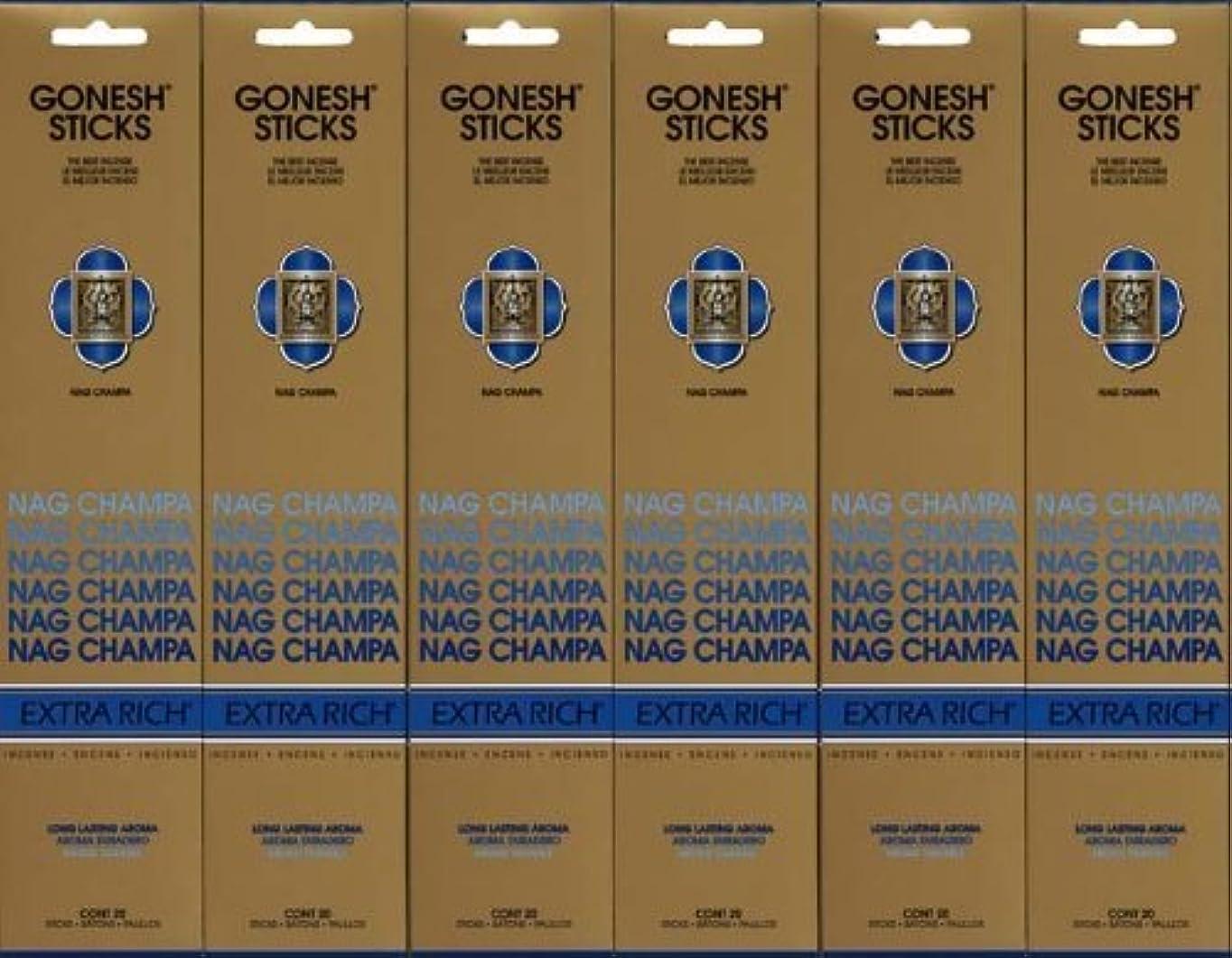 開発送った主人GONESH NAG CHAMPA ナグチャンパ スティック 20本入り X 6パック (120本)