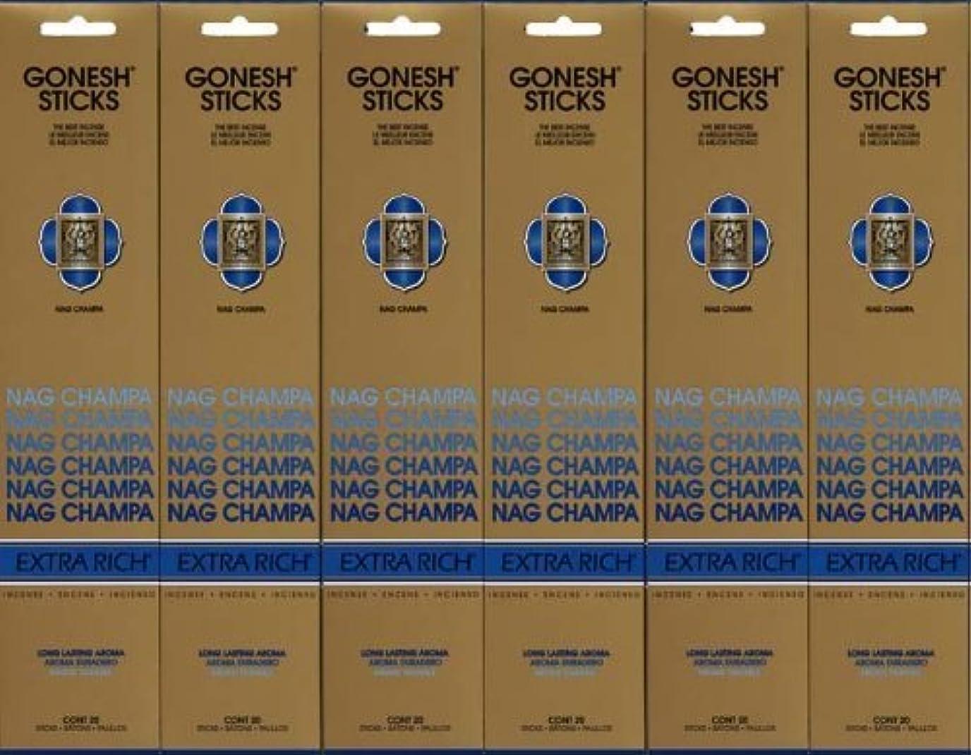 肥満無視する再生的GONESH NAG CHAMPA ナグチャンパ スティック 20本入り X 6パック (120本)