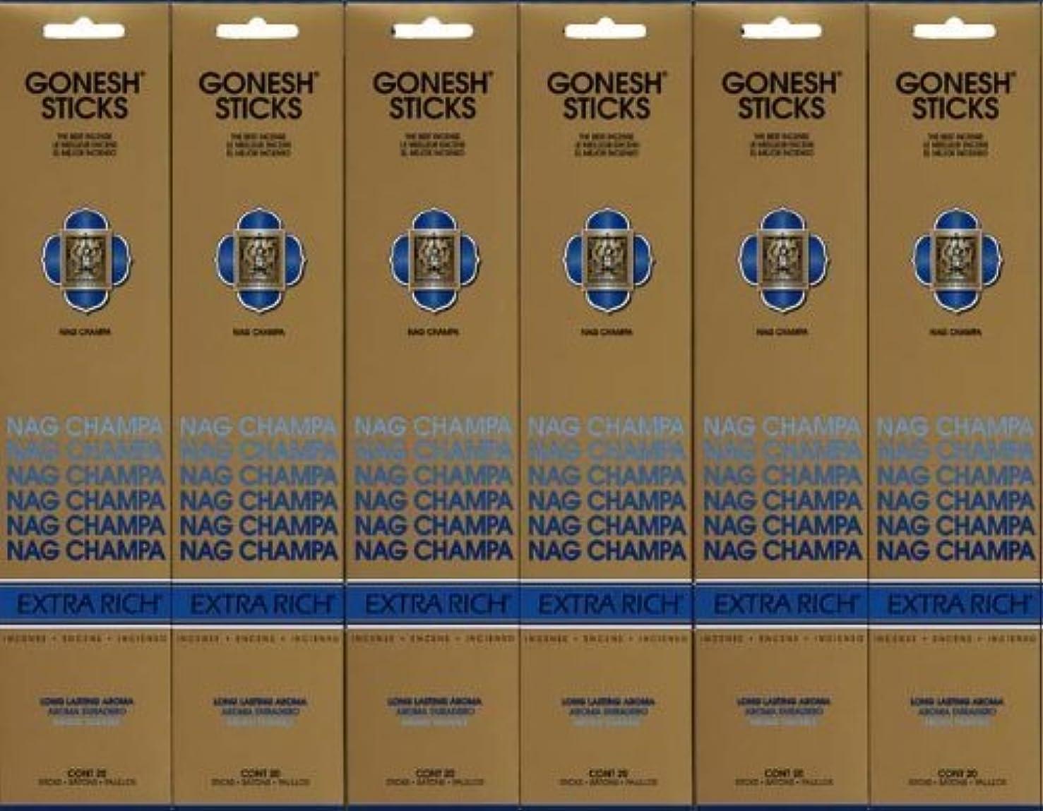 機会馬鹿装備するGONESH NAG CHAMPA ナグチャンパ スティック 20本入り X 6パック (120本)