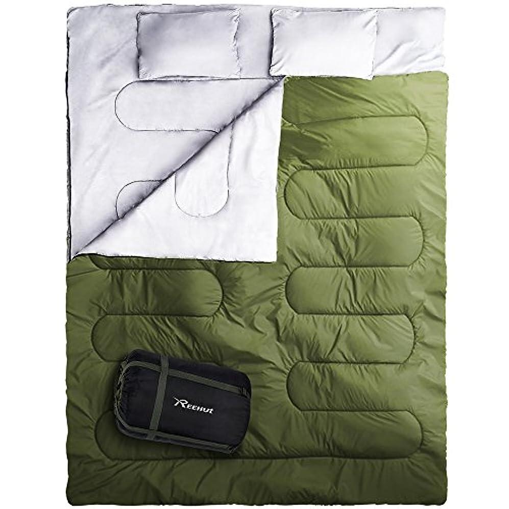 血色の良い時期尚早コンサートREEHUT 寝袋 封筒型 冬用 2人用 コンパクト 防水加工連結可能車中泊 防災 登山 キャンプ用品 枕二つ付き 収納袋付き