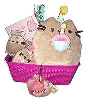 "Pusheen豪華パーティー猫コレクターギフトバスケットwith 12"" Plushパーティー猫、ジャーナル。ソックス、誕生日ぬいぐるみキークリップfor Easter basket、誕生日、Get Well Soonまたは卒業式Celebration"