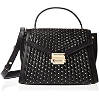 Michael Kors 30S9GWHS2L-001 Whitney Medium Studded Leather Satchel, Black