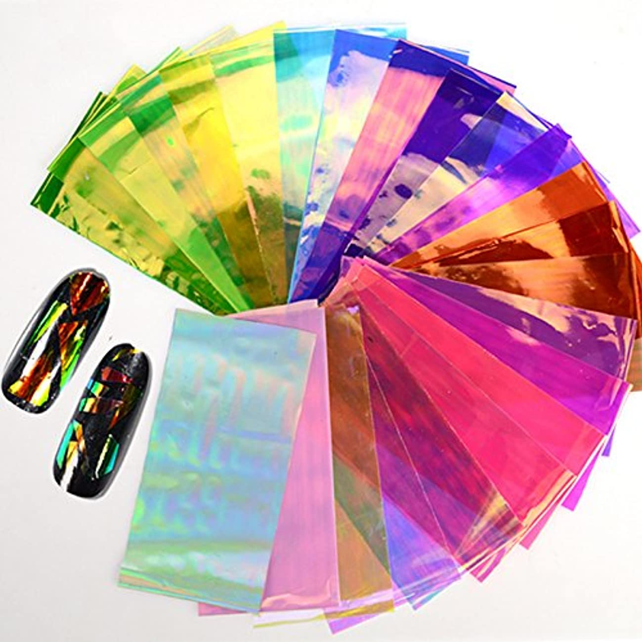 靴下アナロジーさらにGoshang ネイルステッカー オーロラネイルフィルム セロファン ネイルシール テープ ネイル 20枚セット
