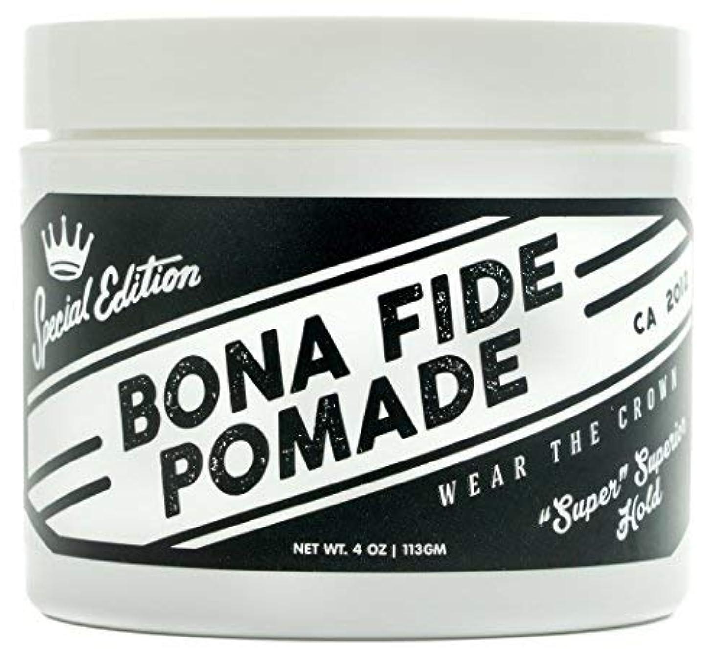 舞い上がる表面人差し指Bona Fide Pomade, スーパースーペリアホールドSE, 4OZ (113g)、水性ポマード/ヘアー グリース (整髪料)