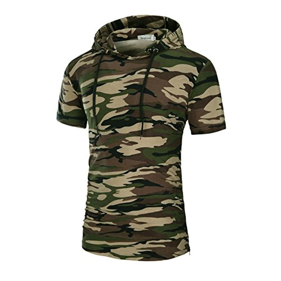 自分自身六月所得(マガザンレーブ) mgzan rev メンズ 服 半袖 フード付 Tシャツ 迷彩 サイドジッパー 大きいサイズ M ~ XXXL Shirt-3