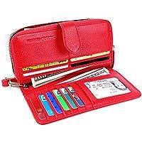 Womens Wallets RFID Ladies Clutch Leather Zip Around Travel Purse Wrist Strap (Red Model 2)