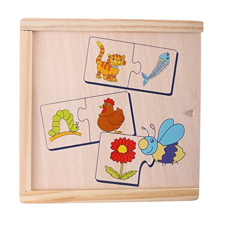 monkeyjackキッズ教育学習木製玩具 – Animal & Food Matching Jigsawパズル