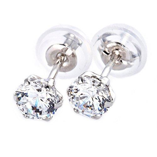 [해외]보석의 숲 귀걸이 슈퍼 큐빅 플래티넘 Pt900 H & C 0.5ct 크기 실리콘 이중 잠금 캐치 단순/Jewelry Forest Earrings Super Cubic Zirconia Platinum Pt 900 H & C 0.5ct size Silicone double lock catch Simple